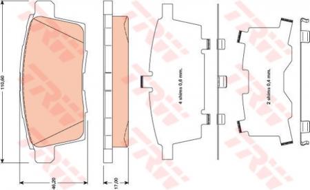 Колодки дисковые Задние, TRW, GDB3472