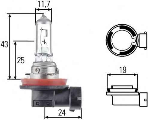 Лампа, 12 В, 55 Вт, H11, PGJ19-2, HELLA, 8GH 008 358-181