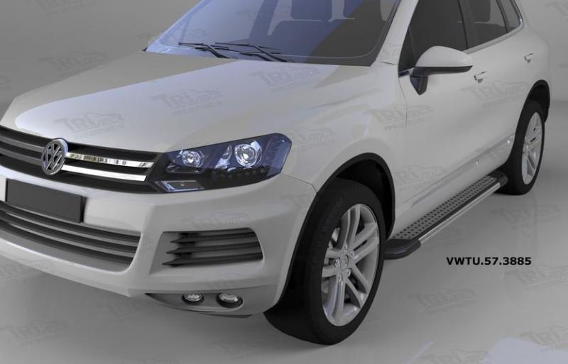 Пороги алюминиевые (Topaz) Volkswagen Touareg (Туарег) (2004-), VWTU573885