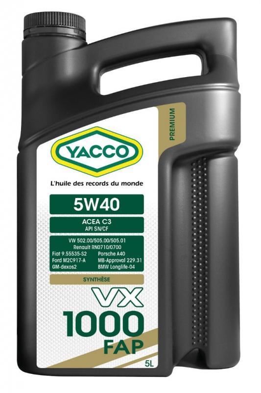 Масло моторное YACCO VX 1000 FAP синт. 5W40,SN (5 л)