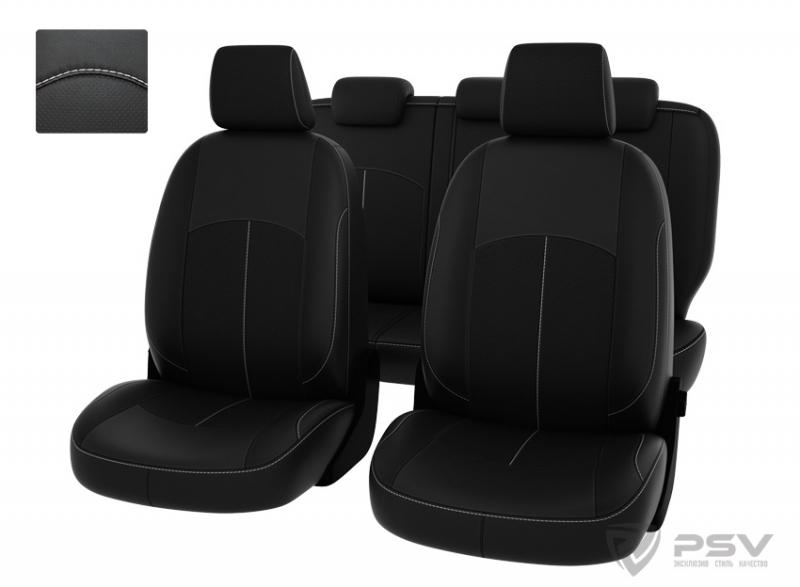 """Чехлы Ford Focus II 05-11г Ghia,Titanium черный/отстрочка белая, экокожа """"Оригинал"""", 123844"""