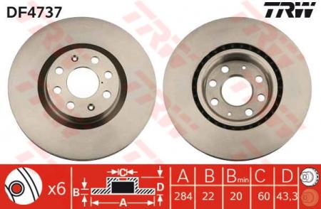 Диск тормозной передний, TRW, DF4737
