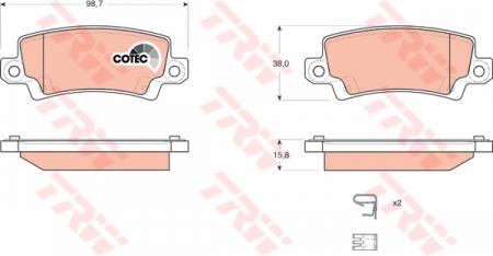 Колодки дисковые Задние, TRW, GDB3289