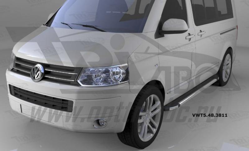 Пороги алюминиевые (Brillant) Volkswagen T5 / Caravelle/Trans. (короткая база) (черн/нерж), VWT54838