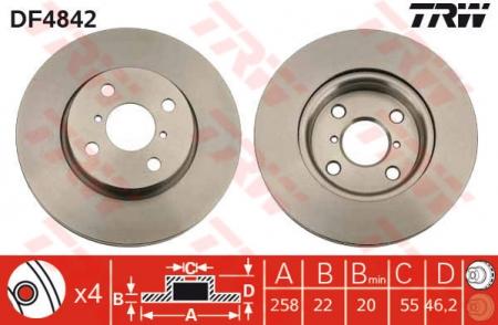 Диск тормозной передний, TRW, DF4842