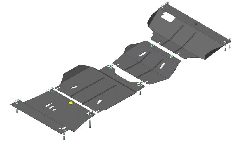 Защита боковины радиатора Ford Ranger V 2006-2012 Mazda Pickup BT-50 2006-2012 V=2,5TD (сталь 2 мм),