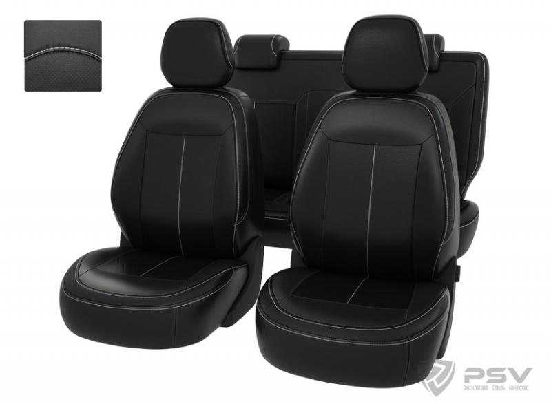 """Чехлы Chevrolet Cobalt 13->черный/отстрочка белая, экокожа """"Оригинал"""", 121034"""