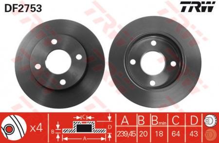Диск тормозной передний, TRW, DF2753