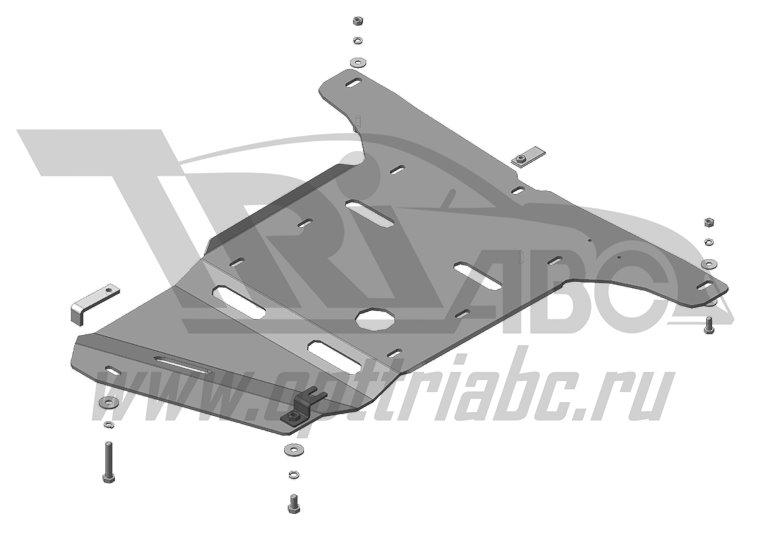 Защита картера КПП, РК BMW 7-й серии кузов F02 2008- V=5,0i (алюминий 5 мм), MOTODOR30211