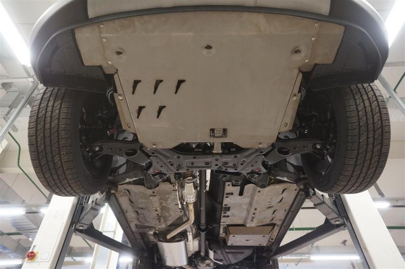 Защита днища Kia Sorento (Киа Соренто) V-все (2012-) 4 части на а/м без бок. подножек (Алюминий 4 мм