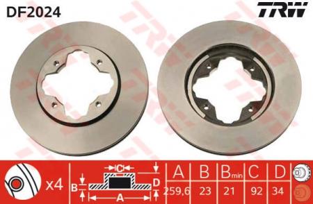 Диск тормозной передний, TRW, DF2024