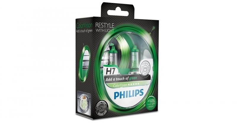 "Лампа ""ColorVision"", 12 В, 55 Вт, H7, PX26d, PHILIPS, 12972CVPGS2"