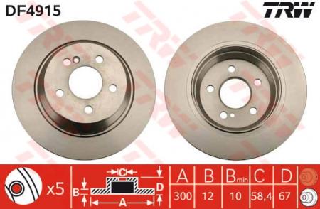 Диск тормозной задний, TRW, DF4915