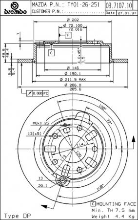 Диск тормозной задний, BREMBO, 08710710