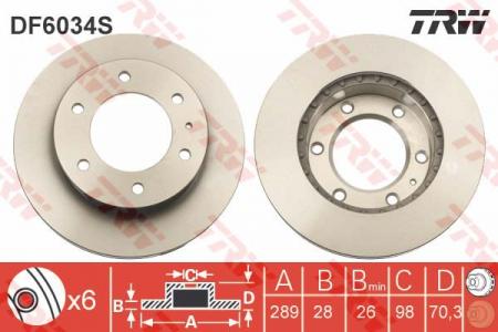 Диск тормозной передний, TRW, DF6034S
