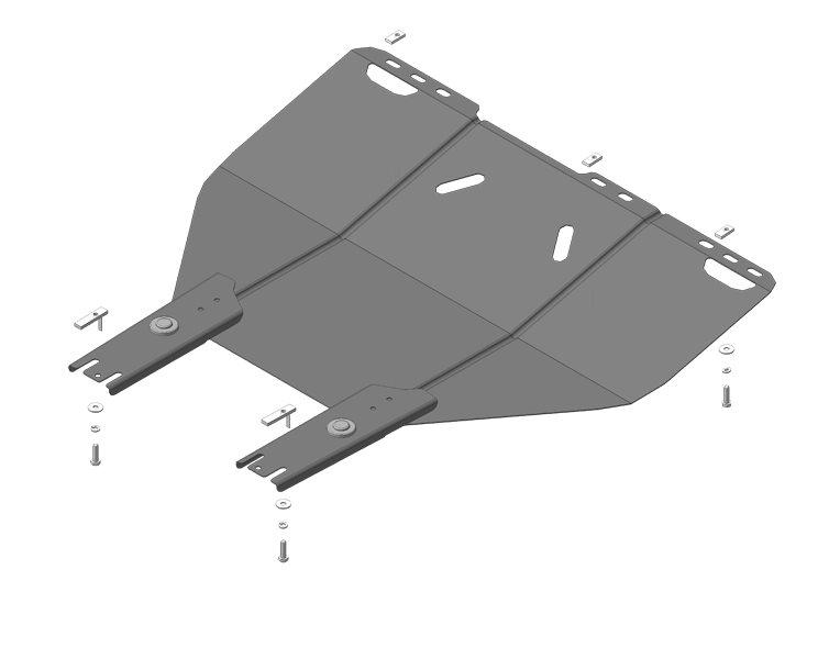 Защита картера двигателя, КПП Ford Focus 2, 3 c 2005 г. Стандарт стальная 2 мм, MOTODOR60702