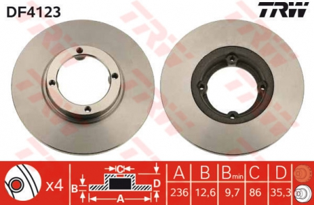 Диск тормозной передний, TRW, DF4123