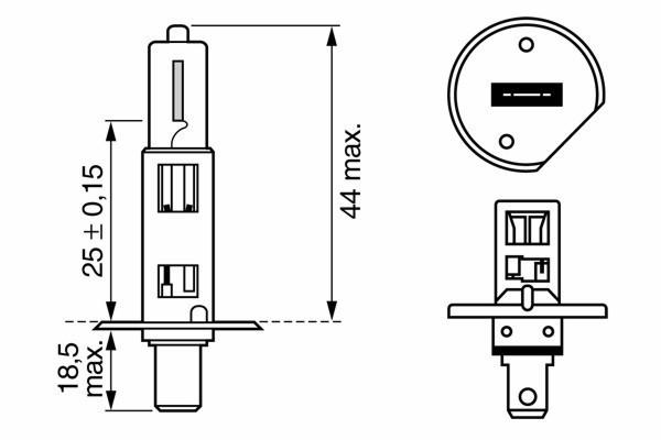 Лампа Xenon Silver, 12 В, 55 Вт, H1, P14,5s, BOSCH, 1 987 301 067