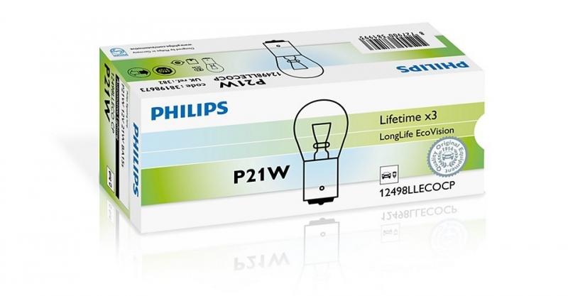 Лампа, 12 В, 21 Вт, PY21W, BA15s, PHILIPS, 12498 LLECOCP