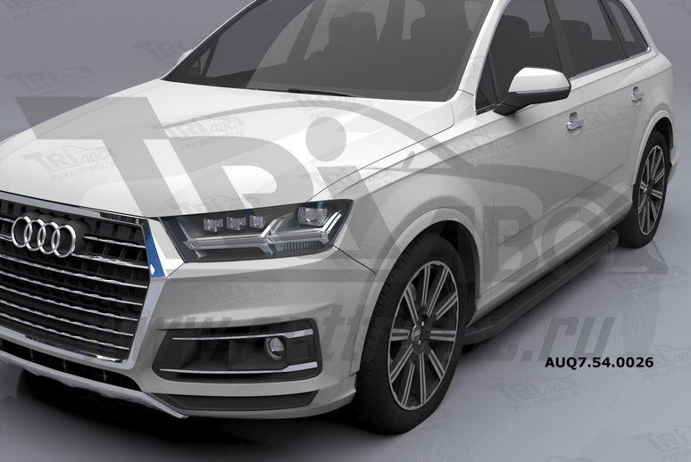 Пороги алюминиевые (Sapphire Black) Audi (Ауди) Q7 (2015-) без панорамной крыши, AUQ7540026