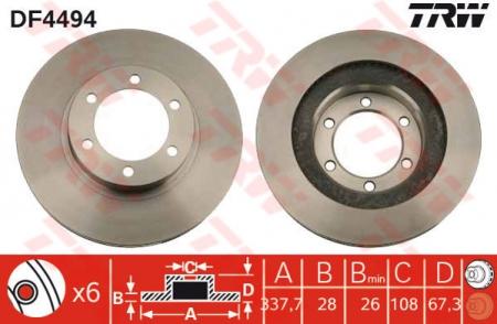 Диск тормозной передний, TRW, DF4494