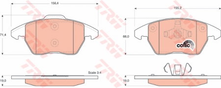 Колодки дисковые Передние, TRW, GDB1605