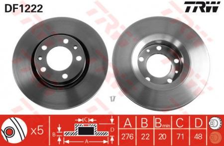 Диск тормозной передний, TRW, DF1222