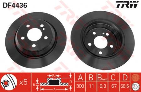 Диск тормозной задний, TRW, DF4436