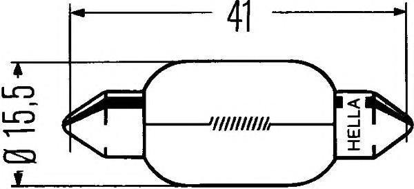 Лампа, 12 В, 18 Вт, K (18W ), SV8,5, HELLA, 8GM 002 091-121
