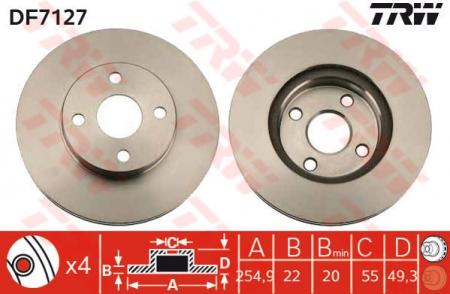 Диск тормозной передний, TRW, DF7127