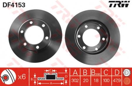 Диск тормозной передний, TRW, DF4153