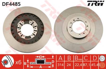 Диск тормозной передний, TRW, DF4485