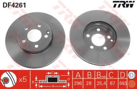 Диск тормозной передний, TRW, DF4261
