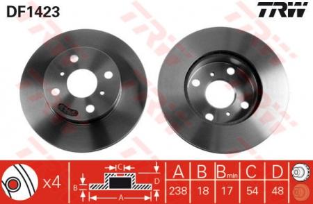 Диск тормозной передний, TRW, DF1423
