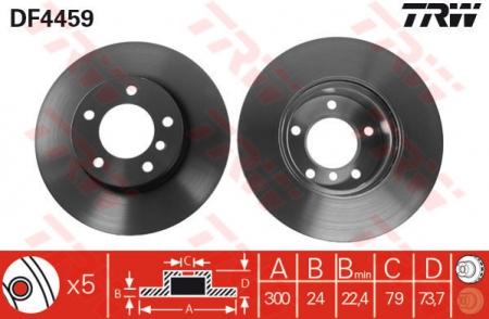 Диск тормозной передний, TRW, DF4459