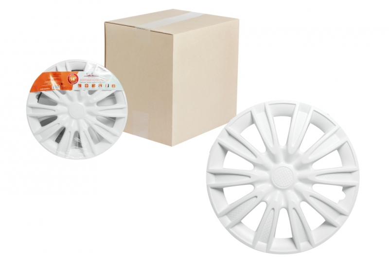 "Колпаки для колес AIRLINE 15""Торнадо"" белый, карбон. 2 шт, AWCC1508"