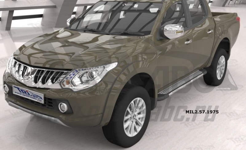Пороги алюминиевые (Topaz) Mitsubishi L200 (2006-2013 / 2014- / 2015-), MIL2571975
