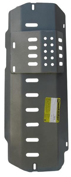 Защита картера ПДФ и передний мост Land Rover Defender 110 1990- V=2,4TD (алюминий 8 мм), MOTODOR383