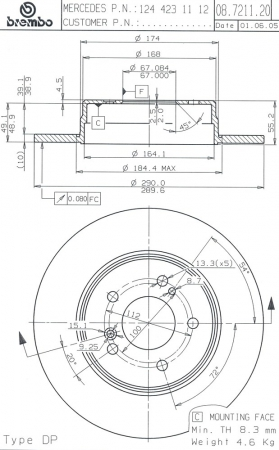 Диск тормозной задний, BREMBO, 08721121