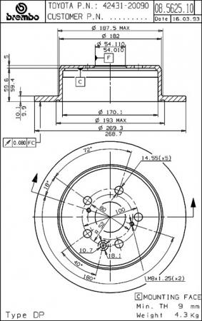 Диск тормозной задний, BREMBO, 08562510