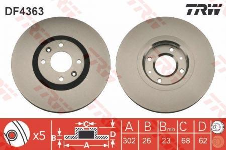 Диск тормозной передний, TRW, DF4363