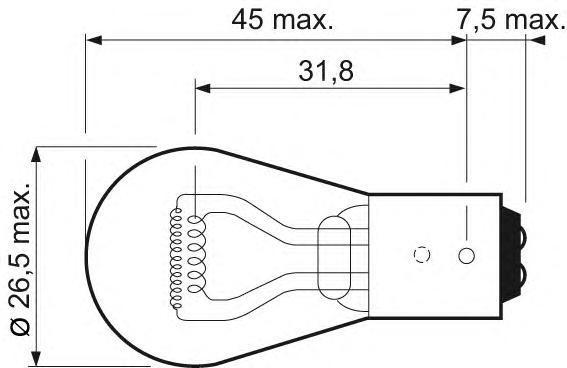 Лампа, 12 В, 42511 Вт, P21/5W, BAY15d, VALEO, 032 107
