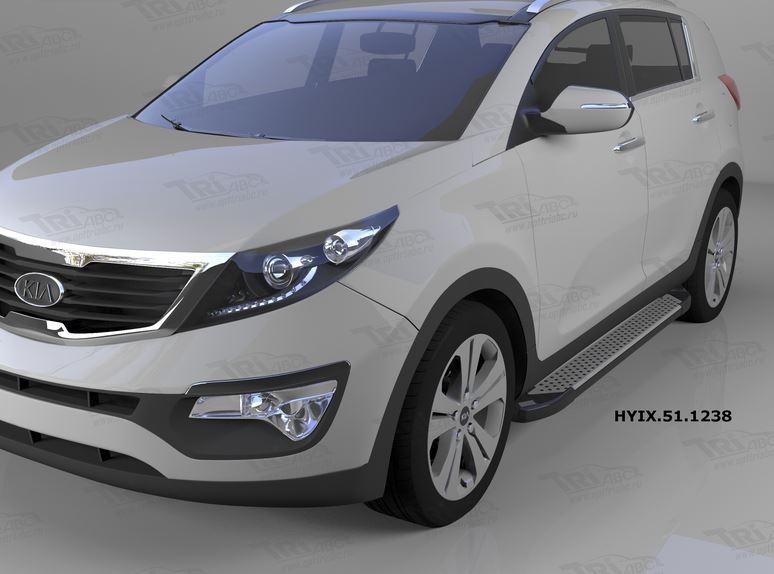 Пороги алюминиевые (Sapphire Silver) Hyundai IX-35 (2009-2015)/ Kia Sportage (Киа Спортаж) III (2010
