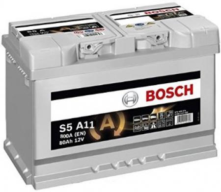 Аккумуляторная батарея Bosch S5 AGM, 12 В, 80 А/ч, 800 А, 0092S5A110