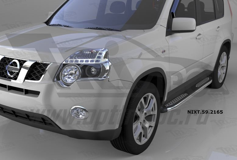 Пороги алюминиевые (Zirkon) Nissan X-Trail (Ниссан Икстрейл) (2007-2010-2014), NIXT592165