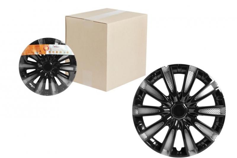 """Колпаки для колес AIRLINE 13""""Торнадо Т"""" серебристый/ чёрный, карбон 2 шт, AWCC1310"""