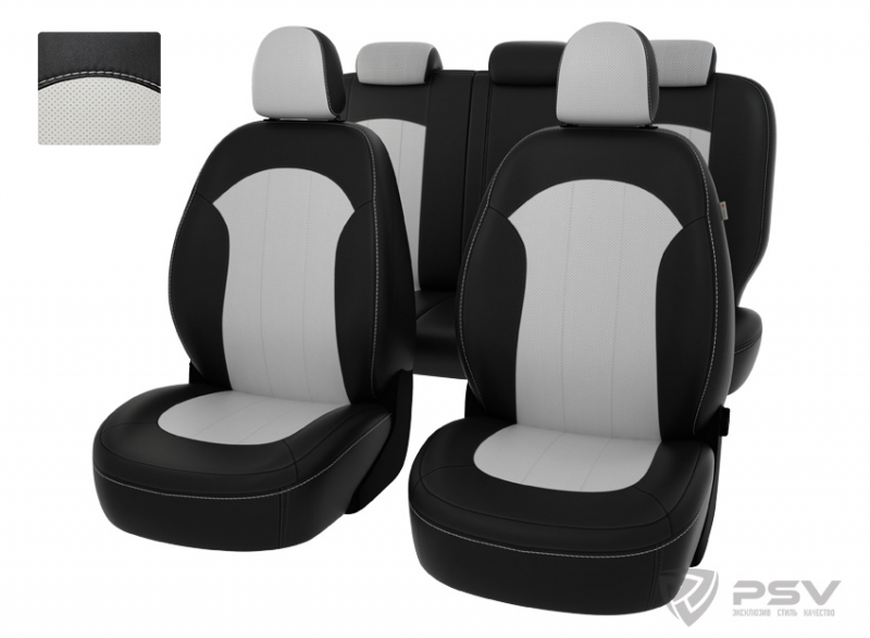 """Чехлы Hyundai ix35 2010-2015 чер-бел экокожа """"Оригинал"""", 122112"""