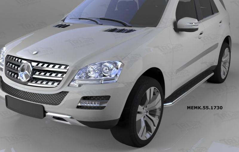Пороги алюминиевые (Ring) Mercedes ML W164 (2006-2011), MEMK551730