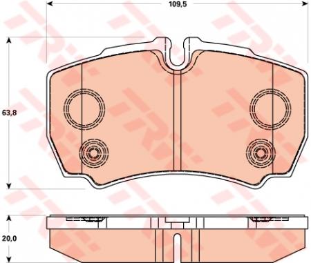 Колодки дисковые Задние+4 болта, TRW, GDB1901