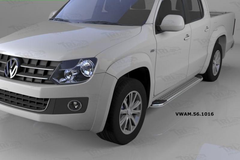 Пороги алюминиевые (Opal) Volkswagen Amarok (Амарок) (2010-), VWAM561016